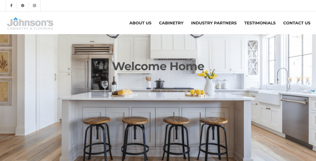 johnson's cabinetry and flooring website menu and header image