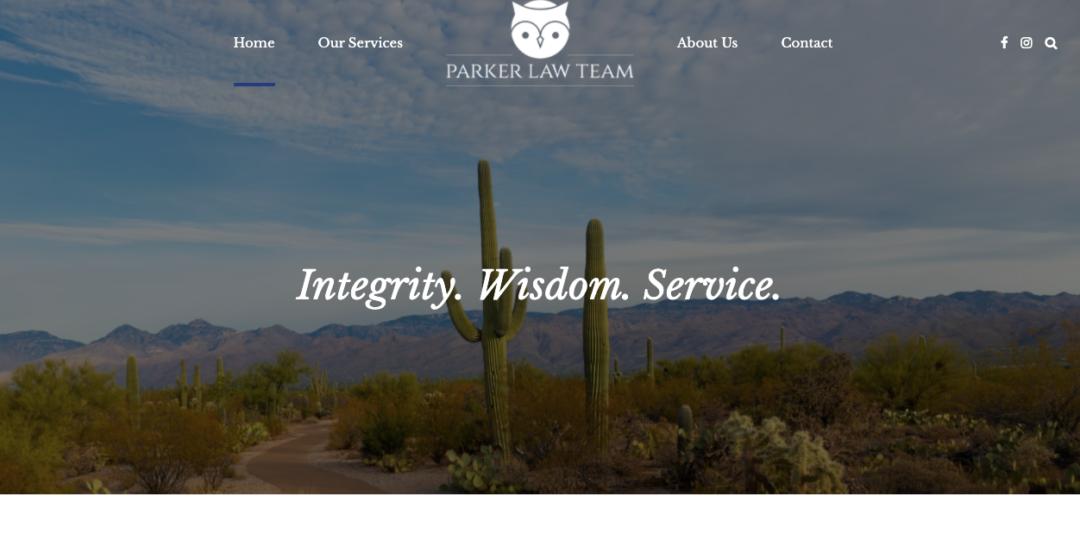 parker law team website menu and header image